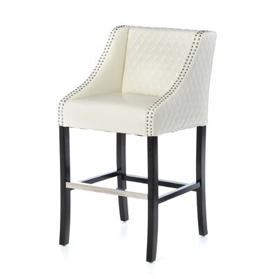 Home Loft Concept Milano Bonded Leather Quilted Barstool in Ivory