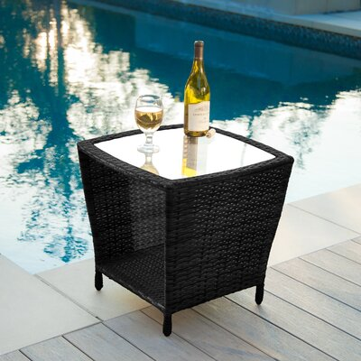 Home Loft Concept Woodland Outdoor Wicker Side Table with Glass Top