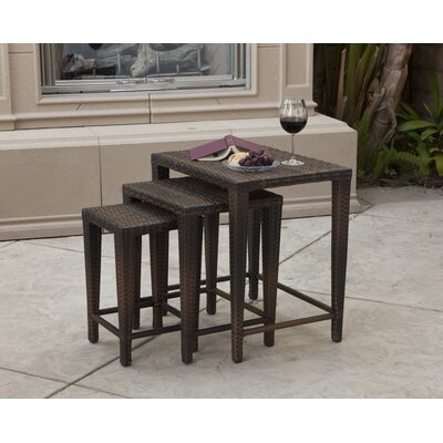 Home Loft Concept 5-Piece Outdoor Adjustable Lounge and Wicker Nesting Table Set in Multi-Color Brown