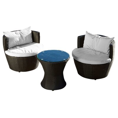Home Loft Concept Cozenza 3 Piece Deep Seating Group with Cushions