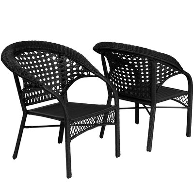 Home Loft Concept Maria Polyethylene Wicker Fan Outdoor Club Chair (Set of 2)