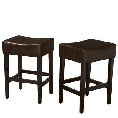Home Loft Concept Lopez Backless Bonded Leather Counter Stool (Set of 2)