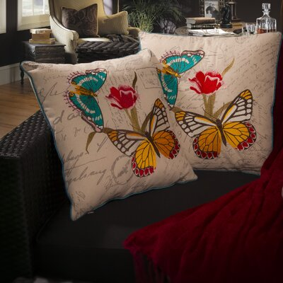 Home Loft Concept Embroidered Butterfly Pillow (Set of 2)