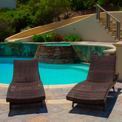 Home Loft Concept Outdoor Adjustable Lounge in Multi-Color Brown (Set of 4)