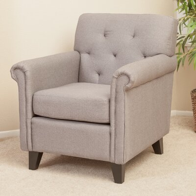 Home Loft Concept Veronica KD Tufted Linen Club Chair in Grey