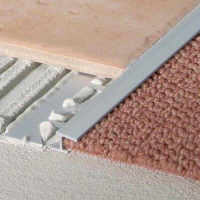 "Blanke 0.5"" Extruded Anodized Aluminum Carpet Trim in Royal Champagne"