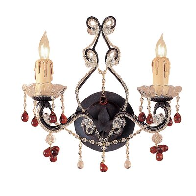 Crystorama Paris Flea Market 2 Light Candle Wall Sconce