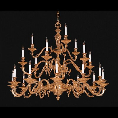 European Classic 21 Light Chandelier in Olde Brass