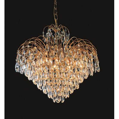Shower Twelve Light Chandelier in 24K Gold Plated