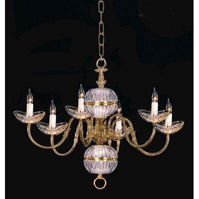 Crystorama Trinity 6 Light Chandelier in Polished Brass