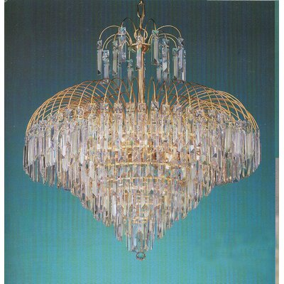 Elegance Twelve Light Chandelier in 24K Gold Plated