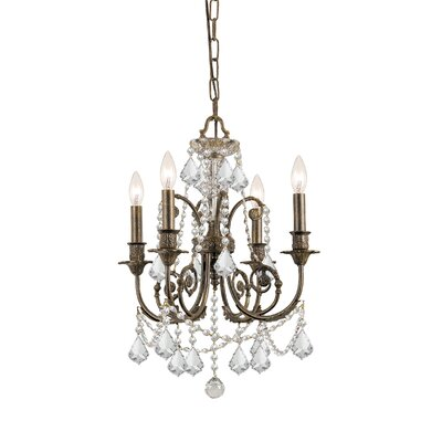 Traditional Classic 4 Light Crystal Candle Chandelier