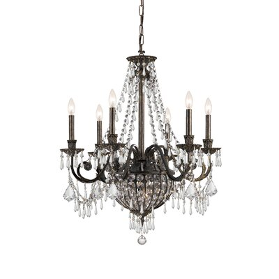 Traditional Classic 9 Light Crystal Candle Chandelier in English Bronze