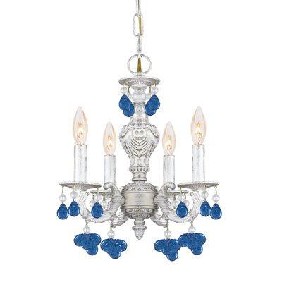 Crystorama Sutton 4 Light Wrought Iron Chandelier Draped with Crystal Drops