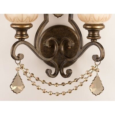 Crystorama Norwalk Golden Teak Crystal Wall Sconce in Bronze Umber