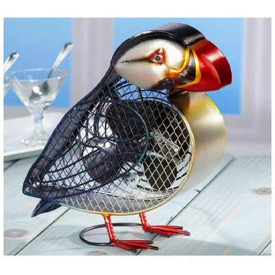 <strong>Deco Breeze</strong> Atlantic Puffin Figurine Table Top Fan