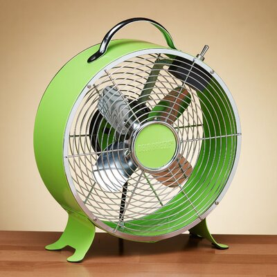 Retro Metal Box Desk Fan in Lime Green