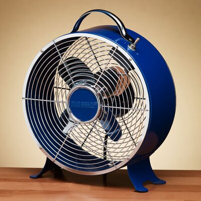 Retro Metal Box Desk Fan in Dark Blue