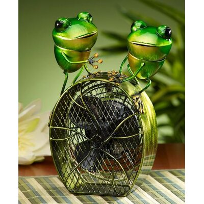 Deco Breeze Frogs Figurine Table Top Fan