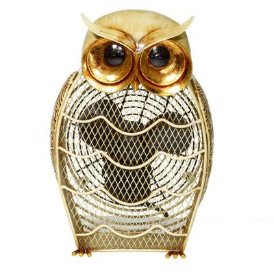 Deco Breeze Snow Owl Figurine Table Top Fan