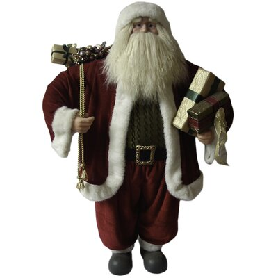 William Ho Company Traditional Standing Santa Holding Presents and Gift Bag