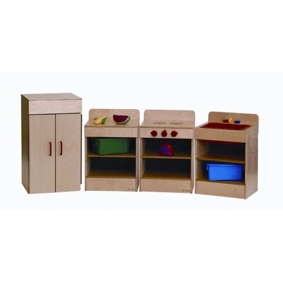 Wood Designs 4 Piece Tot Kitchen Appliances Set with Hutch