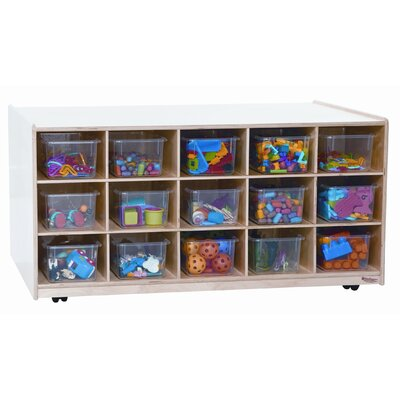 Wood Designs Mobile Island 15 Compartment Cubby