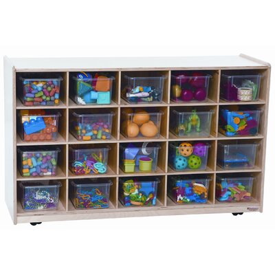 Wood Designs Mobile Island 20 Compartment Cubby