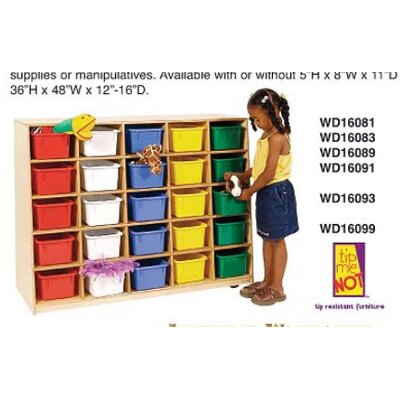 Wood Designs Tip-Me-Not Healthy Kids Storage 25 Compartment Cubby