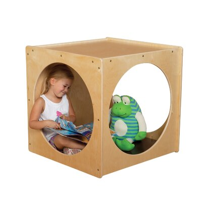 Wood Designs Natural Environment Cube with Brown Cushion
