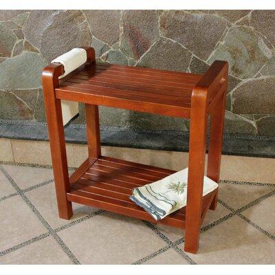 Decoteak Outdoor Teak Storage Bench Shelf Bookcase or End Table