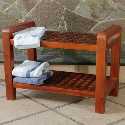 Teak Grate Outdoor Bench Storage Shelf End Table or Serving Caddy