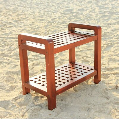 Decoteak Teak Grate Outdoor Bench Storage Shelf End Table or Serving Caddy