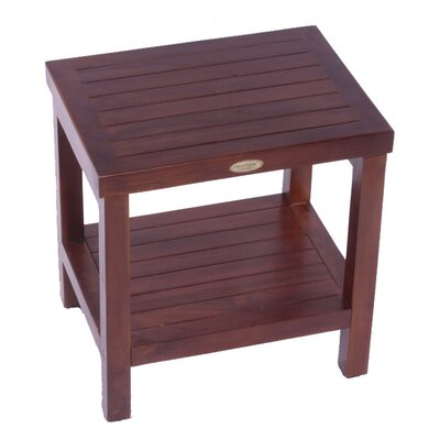 Decoteak Classic Teak Outdoor Bench Shelf Serving Caddy or End Table