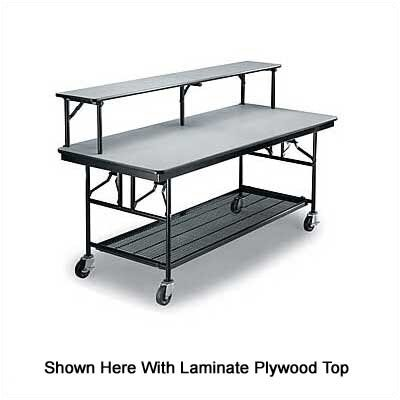 Midwest Folding Products Bar/Buffet Unit with Riser Shelf and Plywood Top