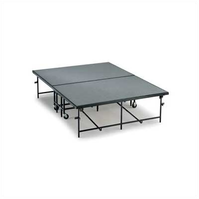 "Midwest Folding Products 16"" x 6' x 8' Mobile Stage with Hardboard or Polypropylene Deck"