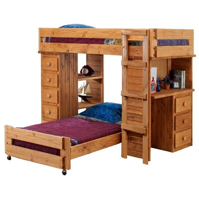 Twin Over Twin Student L Shaped Bunk Bed With Desk And