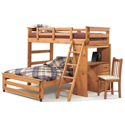 Twin over Full L-Shaped Bunk Bed with Desk End