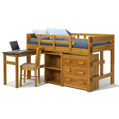 Twin Mini Low Loft Bed with Pull Out Desk and Storage