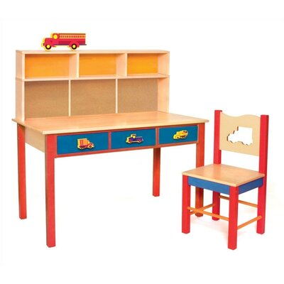 "Room Magic Boys Like Trucks 24"" W Writing Desk and Chair Set"