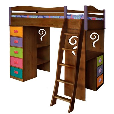 Little Girl Tea Set Twin Loft Bed with Desk and Storage