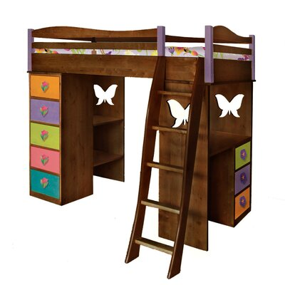 Magic Garden Twin Loft Bed with Desk and Storage