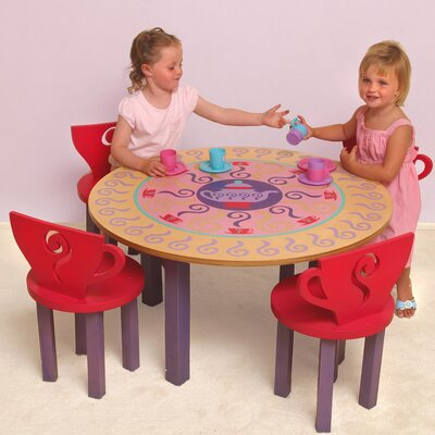 Little Girl Tea Set, 5 Piece Table and Chair Set