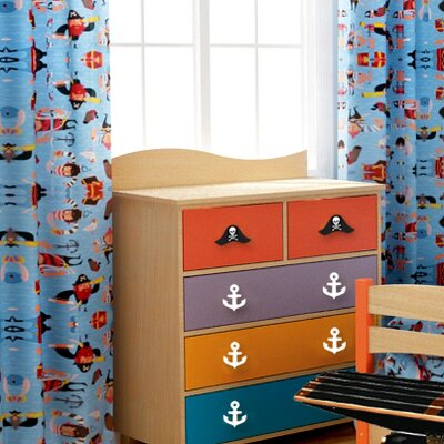 Room Magic Pirate Pals Cotton Rod Pocket Curtain Panel  (Set of 2)