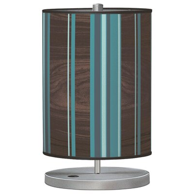 "Jef Designs Organic Modern Stripey Vertical  Cylinder 21"" H Table Lamp with Drum Shade"