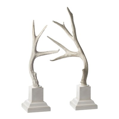 Lazy Susan USA Weathered Resin Buck Antler 2 Piece Set with Base