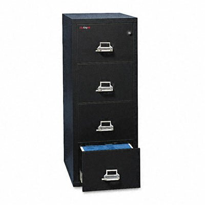"Fire King 4-Drawer Vertical File, 17.75"" W x 25"" D, Ul Listed 350 for Fire, Letter"