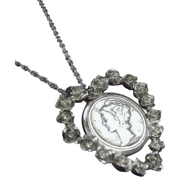 American Coin Treasures Mercury Dime Rose Heart Pendant