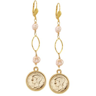 Mercury Dime Pearl Drop Earrings