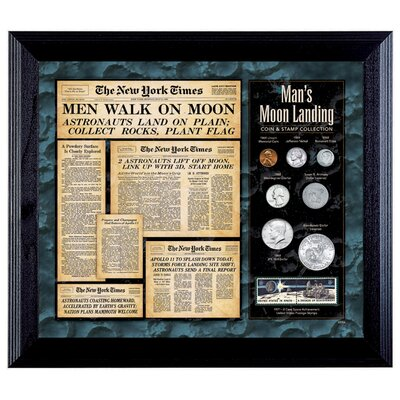 American Coin Treasures New York Times Man Lands on the Moon Coin and Stamp Wall Frame